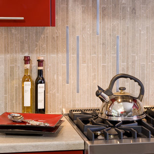 Contemporary Red Hot Kitchen