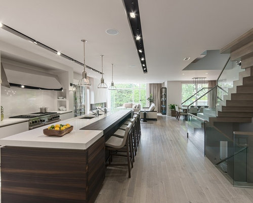 Trendy galley eat in kitchen photo in Miami with an undermount sink   stainless steelRecessed Track Lighting   Houzz. Recessed Track Lighting Prices. Home Design Ideas