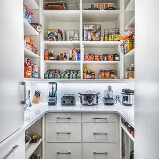 Foto di una cucina contemporanea con nessun'anta, ante bianche, pavimento grigio e top bianco