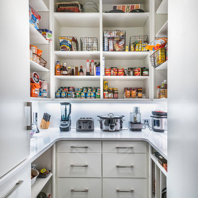 Example of a trendy u-shaped gray floor kitchen pantry design in Nashville with open cabinets, white cabinets and white countertops
