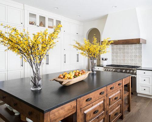 Mediterranean Kitchen Ideas   Inspiration For A Mediterranean U Shaped Dark  Wood Floor Kitchen Remodel