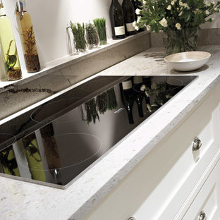 Inspiration for a mid-sized transitional open plan kitchen in Manchester with grey cabinets, granite benchtops, beaded inset cabinets, marble floors and with island.