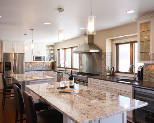 two kitchen islands houzz seapine cottage traditional kitchen boston by
