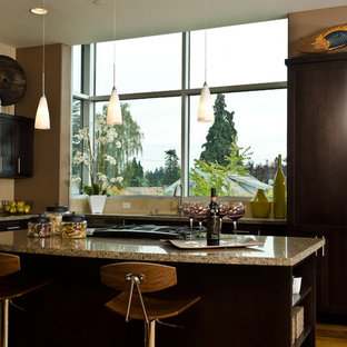Enclosed kitchen - mid-sized contemporary u-shaped medium tone wood floor and brown floor enclosed kitchen idea in Portland with shaker cabinets, dark wood cabinets, an undermount sink, granite countertops, paneled appliances, an island and beige backsplash