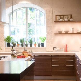 Пример оригинального дизайна интерьера: кухня в современном стиле с техникой из нержавеющей стали