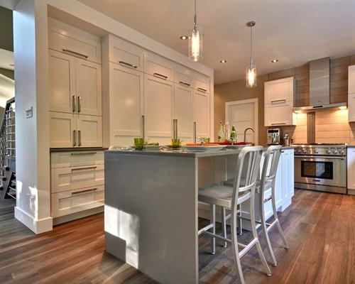 White Recessed Panel Cabinets | Houzz