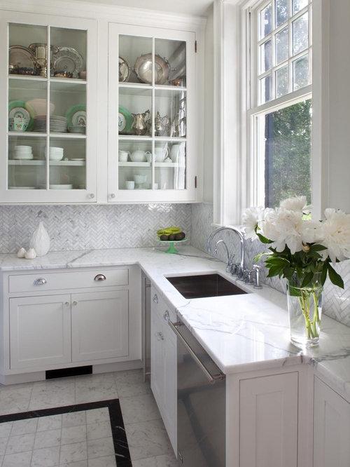 Herringbone Carrara Backsplash Ideas Pictures Remodel and Decor – Herringbone Kitchen Backsplash
