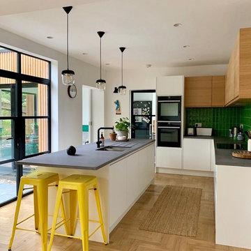 Contemporary White Matt and Natural Oak J Shaped Handle Kitchen - Moseley