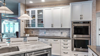 Contrasting White and Dark Gray Cabinets and Countertops in Crownsville, MD