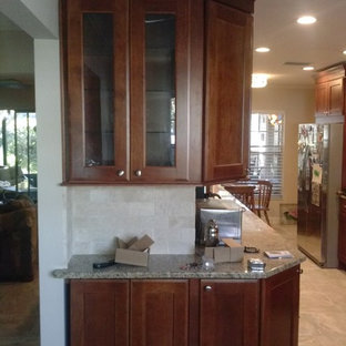 Traditional Kitchen Ideas Example Of A Clic Porcelain Floor Design In Tampa With Gl