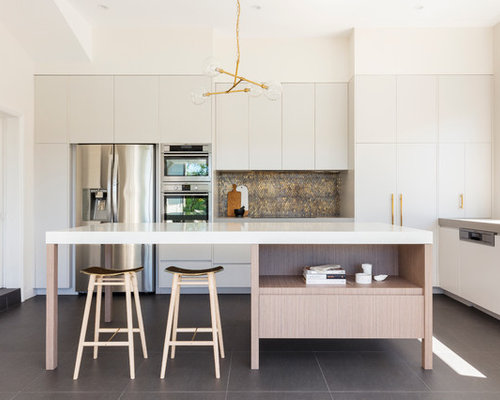 slate floor kitchen. Mid-sized Contemporary L-shaped Kitchen In Sydney With White Cabinets, Quartz Benchtops Slate Floor