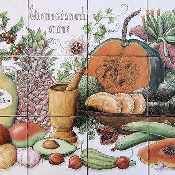 """Cookie's Puerto Rican Cornucopia"" kitchen backsplash tile mural"