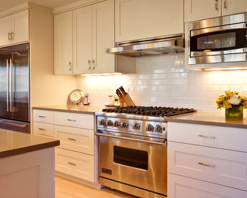 Inspiration For A Contemporary Kitchen Remodel In Minneapolis With  Stainless Steel Appliances And Subway Tile Backsplash