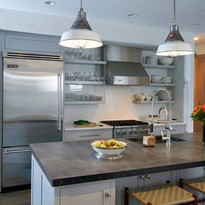 Example of a transitional eat-in kitchen design in Other with stainless steel appliances, flat-panel cabinets and gray cabinets