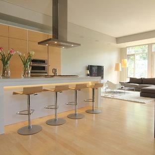 Удачное сочетание для дизайна помещения: кухня-гостиная в стиле модернизм с столешницей из кварцевого композита, плоскими фасадами и светлыми деревянными фасадами - самое интересное для вас