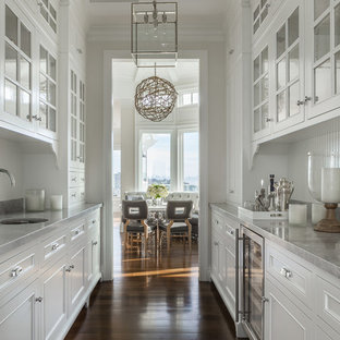 Design ideas for a large classic galley kitchen pantry in San Francisco with no island, a single-bowl sink, recessed-panel cabinets, white cabinets, white splashback, stainless steel appliances and dark hardwood flooring.