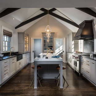 Large transitional kitchen inspiration - Example of a large transitional dark wood floor and brown floor kitchen design in Other with a farmhouse sink, recessed-panel cabinets, gray cabinets, soapstone countertops, stainless steel appliances and an island