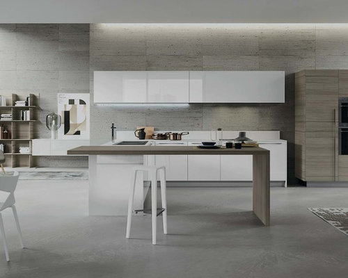 Modern italian kitchen houzz for Italian kitchen cabinets