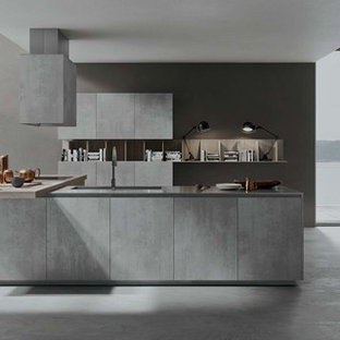 Example Of A Mid Sized Minimalist Galley Concrete Floor Open Concept Kitchen Design In New Save Photo Copatlife 2 1 Modern Italian Kitchens