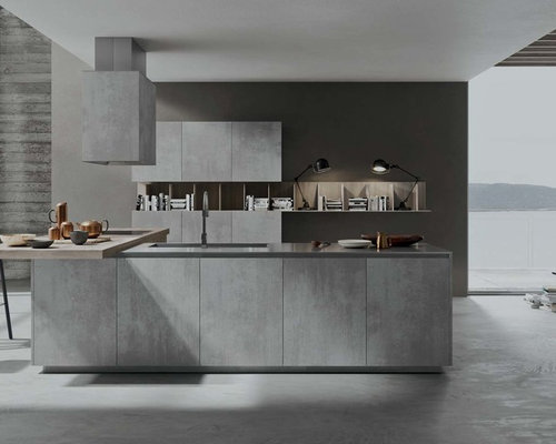 Italian Kitchen Design. Example of a mid sized minimalist galley concrete floor open concept kitchen  design in New Modern Italian Kitchen Houzz