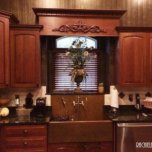 Copper Sink: Custom copper farmhouse apron sink with integral backsplash