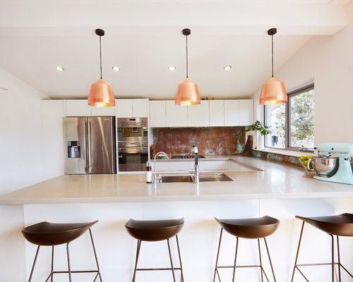 Photo Of A Large Contemporary U Shaped Kitchen In Perth With A Double Bowl