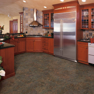 Transitional kitchen pictures - Example of a transitional vinyl floor kitchen design in San Diego