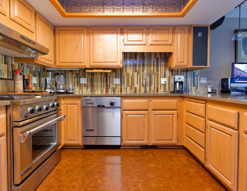 Cork, Glass Tile and Quartz Kitchen