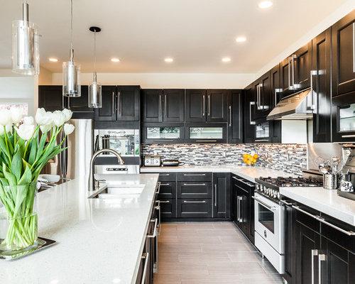 Dark Cabinets White Appliances | Houzz