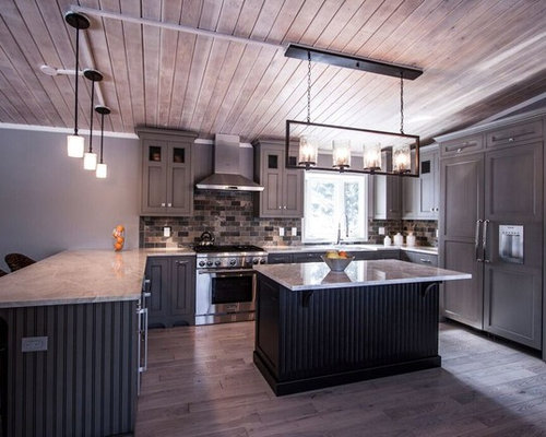 Mid sized transitional eat in kitchen ideas inspiration for a mid sized