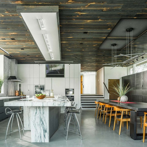 Contemporary Eat In Kitchen Remodeling   Trendy L Shaped Gray Floor Eat In Part 68