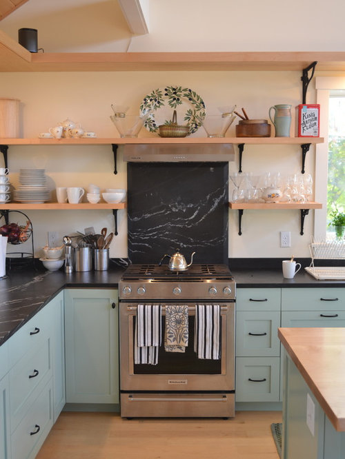 Farmhouse Kitchen with Blue Cabinets Design Ideas & Remodel