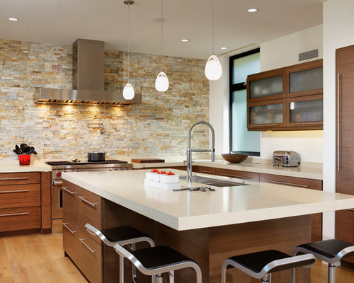 Inspiration For A Large Contemporary U Shaped Open Concept Kitchen Remodel In Orange County With