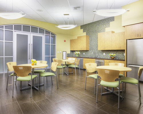 Model Office Break Room Design  Multi Purpose Break Room With Dark Gray