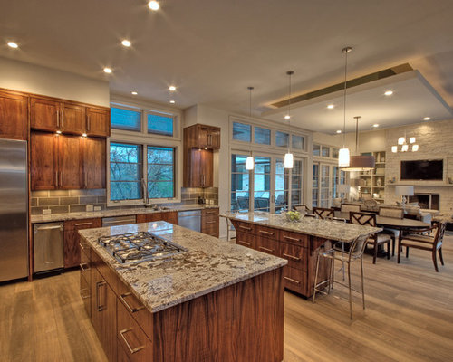 Transitional Open Concept Kitchen Idea In Austin With Recessed Panel  Cabinets, Dark Wood Cabinets