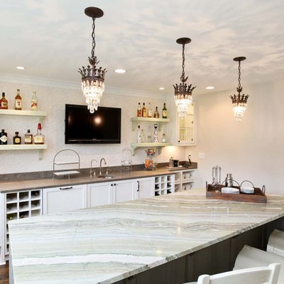 Inspiration for a timeless kitchen remodel in Minneapolis with open cabinets
