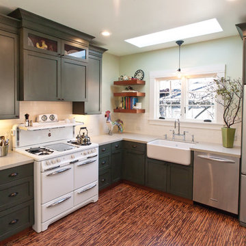 Cottage Green Kitchen with Hutch