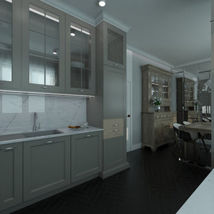 Small traditional u-shaped eat-in kitchen in Other with an integrated sink, glass-front cabinets, grey cabinets, quartz benchtops, white splashback, stone slab splashback, white appliances, ceramic floors and no island.