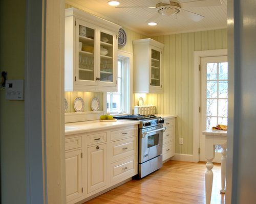 of a mid sized coastal galley enclosed kitchen design in indianapolis