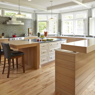 Example of a transitional kitchen design in Minneapolis with light wood cabinets and stainless steel appliances