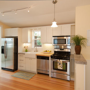 Traditional kitchen ideas - Kitchen - traditional single-wall kitchen idea in San Francisco with stainless steel appliances, a farmhouse sink and white cabinets
