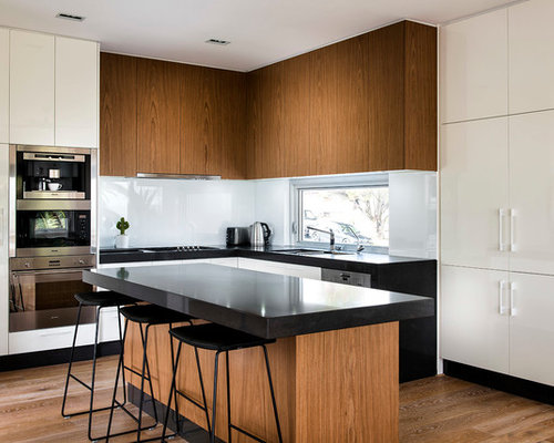 white glass backsplash | houzz