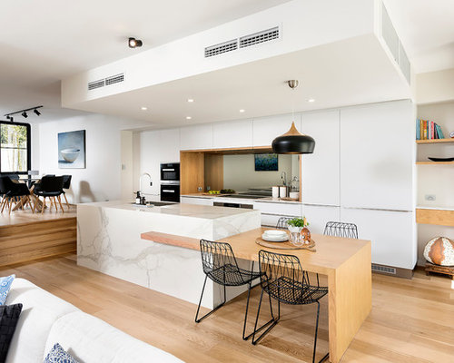 photo of a large scandinavian galley open plan kitchen in perth with a single bowl - Scandinavian Kitchen Design