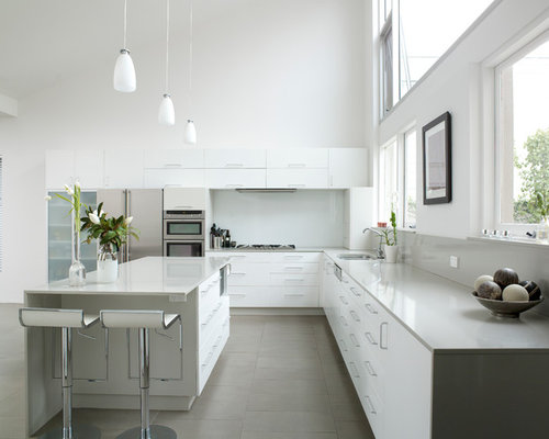 White and grey kitchen houzz for Adams cabinets perth