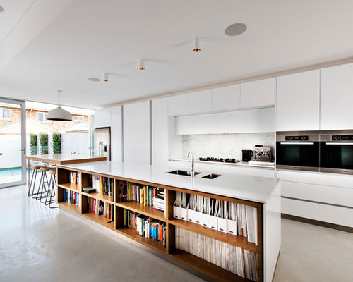 Inspiration For A Contemporary Galley Kitchen Remodel In Perth With White  Cabinets, Stone Slab Backsplash