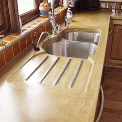 Countertops - Custom Concrete Counter Top with Integrated Brass Rod Drainboard,