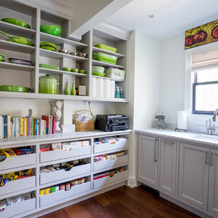 Design ideas for a medium sized classic single-wall kitchen pantry in Other with a submerged sink, beaded cabinets, grey cabinets, marble worktops, white splashback, dark hardwood flooring, brown floors, grey worktops and no island.