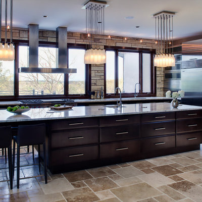 Example of a trendy kitchen design in Chicago with dark wood cabinets and stainless steel appliances