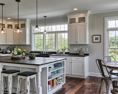 all-time favorite farmhouse kitchen with dark hardwood floors