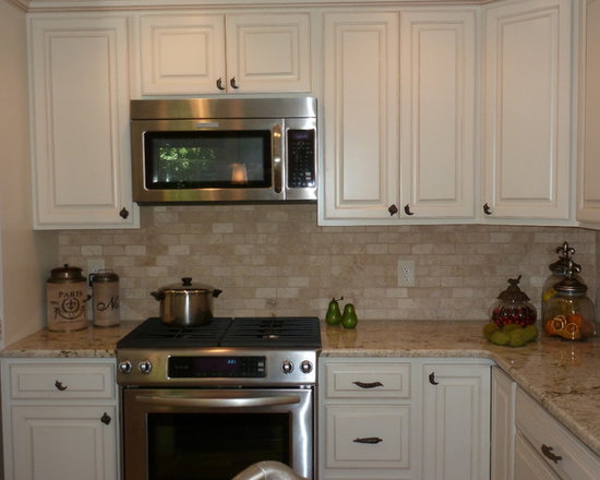 tumbled travertine backsplash | houzz